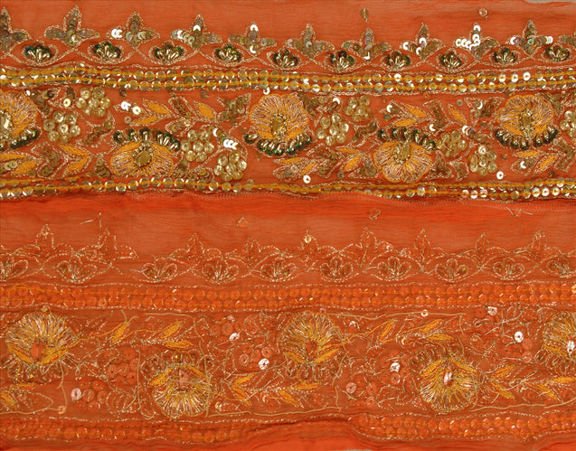 "Antique Vintage Saree Border Hand Beaded Indian Craft Trims Lace 3""W +1 Yard"