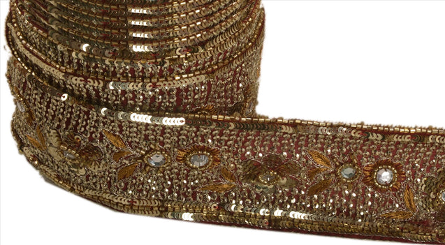 "Antique Vintage Saree Border Hand Beaded Indian Craft Trims Lace 2.5""W +1 Yard"