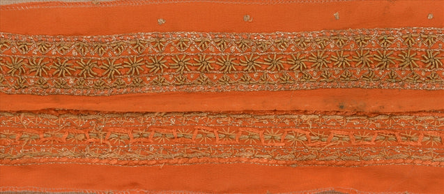"Antique Vintage Saree Border Hand Embroidered Craft Trims Lace 1.5""W +1 Yard"