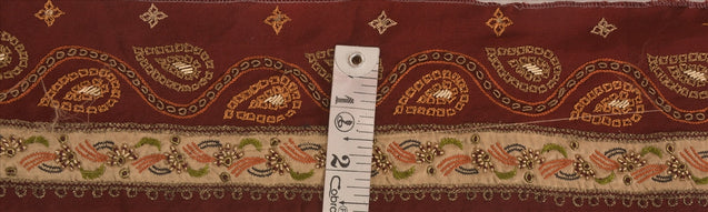 "Antique Vintage Saree Border Hand Embroidered Craft Trims Lace 2.5""W +1 Yard"