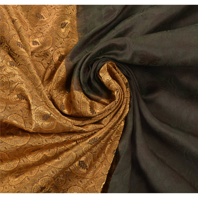 Rare Black Kanjivaram Saree Handcrafted Art Silk Sari Fabric