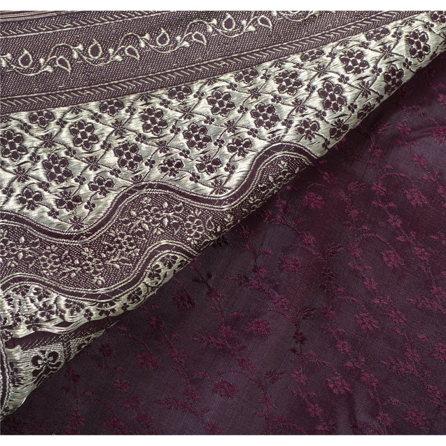 Sanskriti Vinatage Sanskriti Vintage Heavy Saree Pure Satin Silk Purple Woven Brocade Fabric Sari
