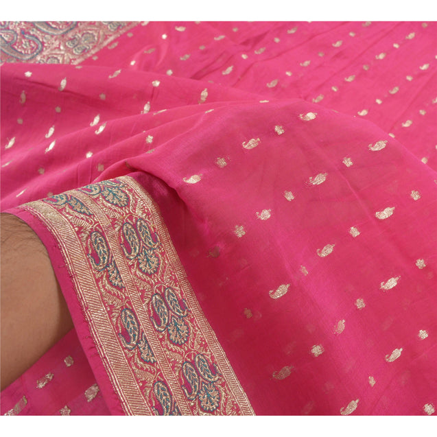 Sanskriti Vintage Heavy Indian Sari Pure Silk Pink Woven Brocade Sarees Fabric