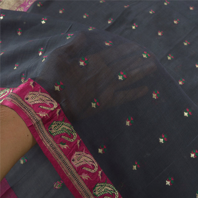 Sanskriti Vintage Black Heavy Sarees 100% Pure Silk Woven Brocade Sari Fabric