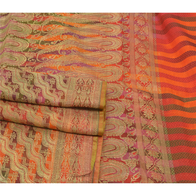 Sanskriti Vintage Heavy Sarees Blend Satin Woven Brocade Sari Zari Work Fabric