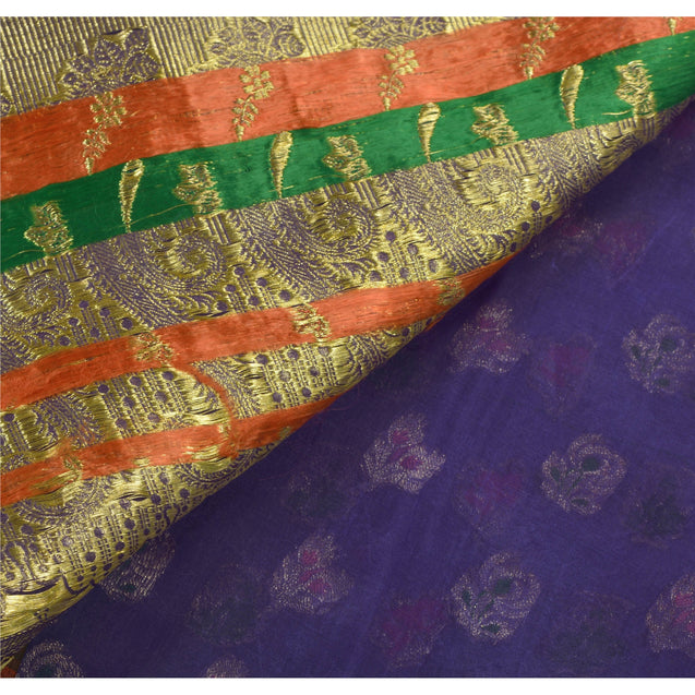Heavy Saree Pure Organza Silk Kanjivaram Blue Fabric Sari
