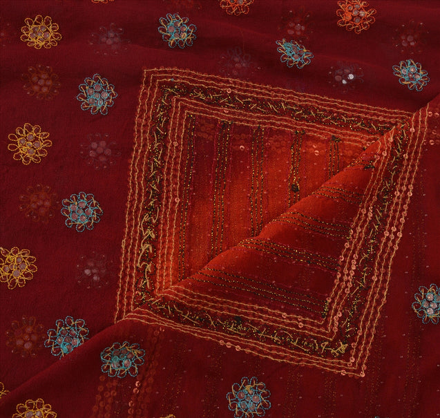 Vintage Dupatta Long Stole Georgette Dark Orange Hijab Hand Beaded Wrap Veil