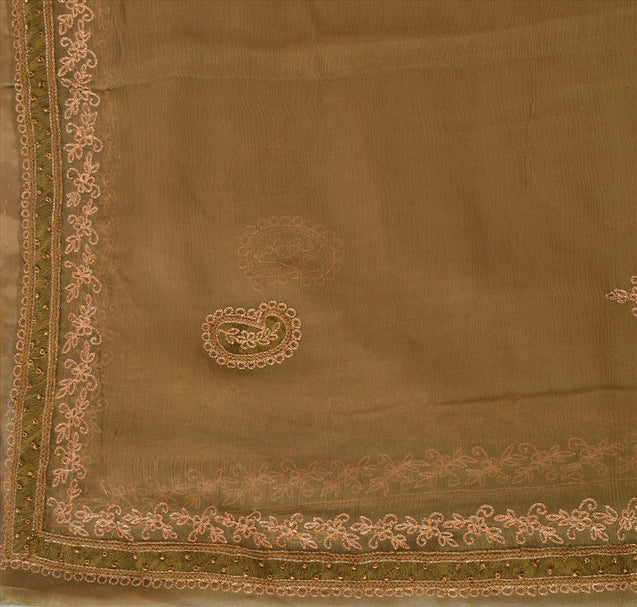 Vintage Dupatta Long Stole Chiffon Silk Brown Scarves Hand Beaded Hijab