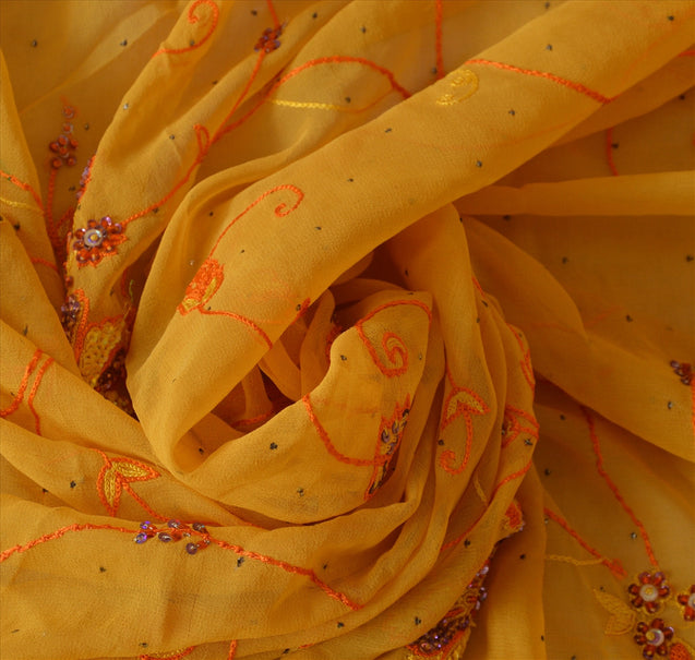 Sanskriti Vintage Dupatta Long Stole Georgette Yellow Hand Beaded Wrap Scarves