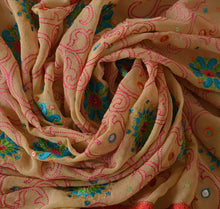 Load image into Gallery viewer, Sanskriti Vintage Dupatta Long Stole Georgette Cream Hijab Hand Beaded Wrap Veil