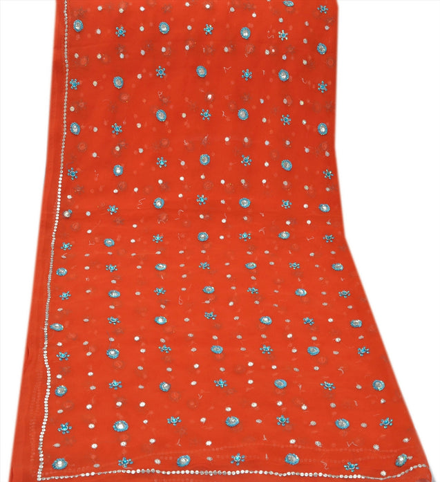 Sanskriti Vintage Dupatta Long Stole Georgette Orange Scarves Hand Beaded Hijab
