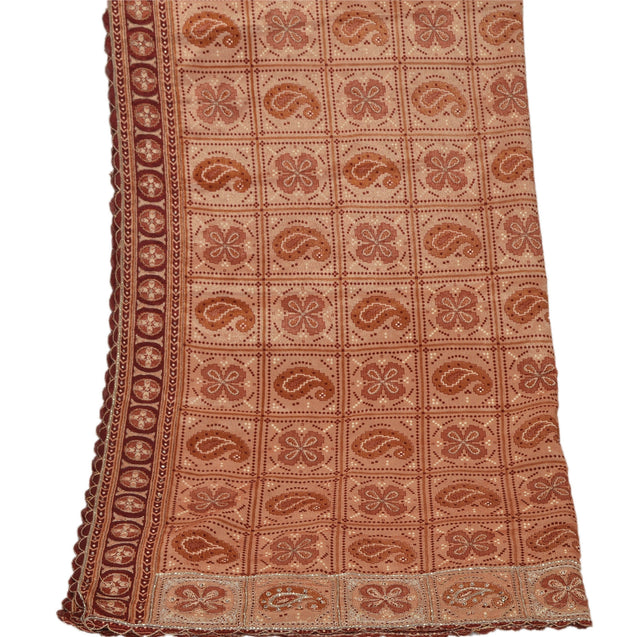 Sanskriti Vintage Dupatta Long Stole Art Silk Peach Shawl Hand Beaded Wrap Veil