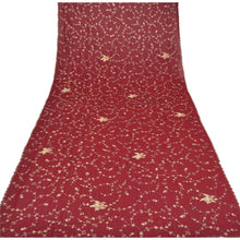 Load image into Gallery viewer, Sanskriti Vintage Dupatta Long Stole Georgette Dark Red Hijab Hand Beaded Shawl