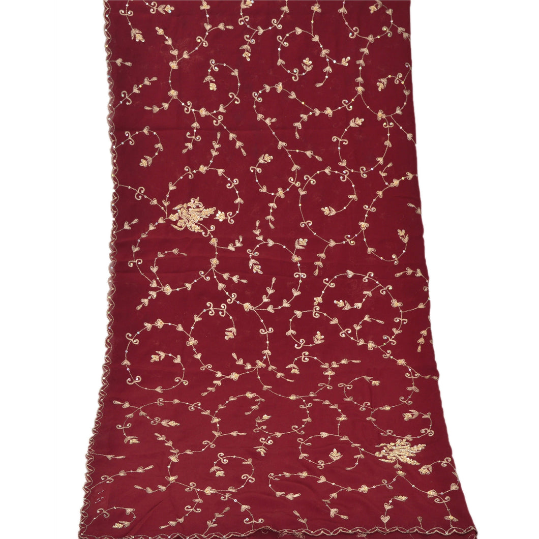 Sanskriti Vintage Dupatta Long Stole Georgette Dark Red Hijab Hand Beaded Shawl