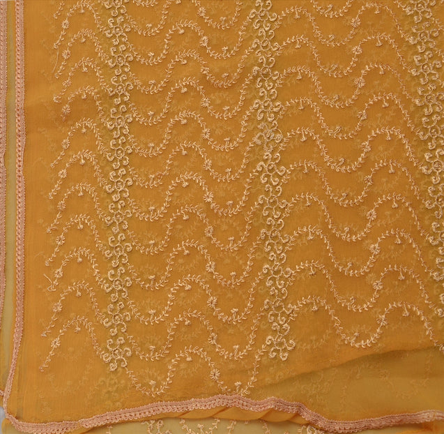 VINTAGE DUPATTA LONG STOLE EMBROIDERED SCARF FABRIC DECO VEIL INDIAN SAFFRON