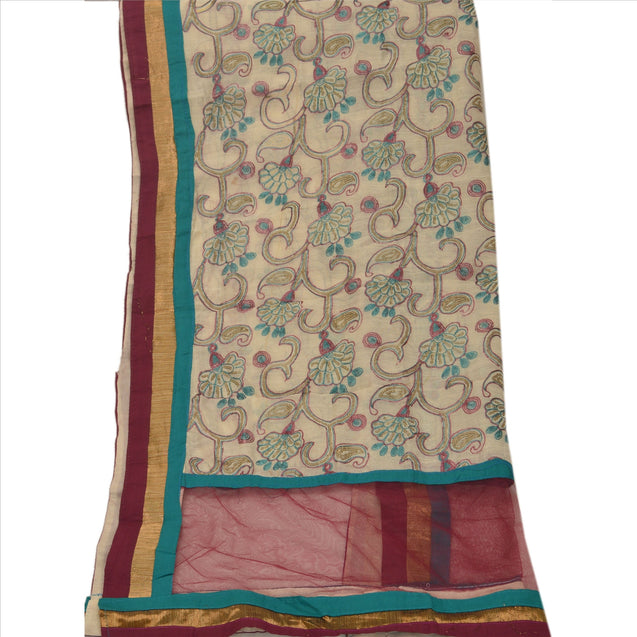Sanskriti Vintage Dupatta Long Stole Art Silk Cream Hijab Embroidered Wrap Veil