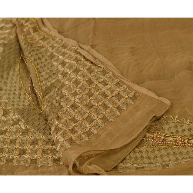 Sanskriti Vintage Dupatta Long Stole Chiffon Silk Brown Hand Beaded Wrap Veil