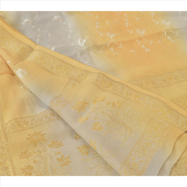 Vintage Dupatta Long Stole Georgette Cream Hijab Embroidered Woven Wrap Veil