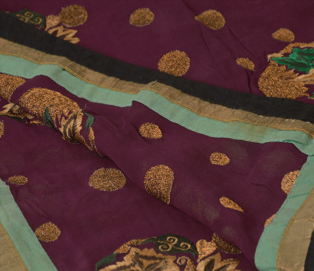 Sanskriti Vintage Dupatta Long Stole Georgette Purple Scarves Embroidered Hijab