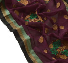 Load image into Gallery viewer, Sanskriti Vintage Dupatta Long Stole Georgette Purple Scarves Embroidered Hijab