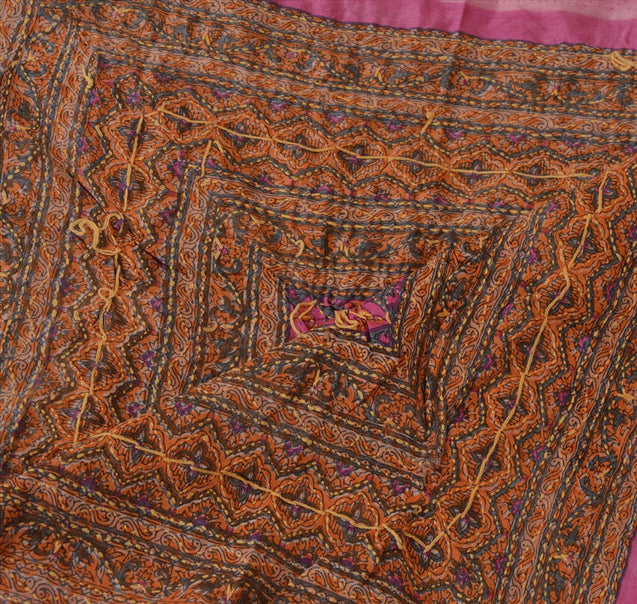 Vintage Dupatta Long Stole Art Silk Pink Hand Embroidered Kantha Wrap Veil