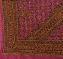 Load image into Gallery viewer, Vintage Dupatta Long Stole Art Silk Pink Hand Embroidered Kantha Wrap Veil