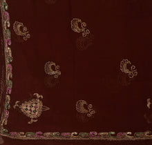 Load image into Gallery viewer, Sanskriti Vintage Dupatta Long Stole Chiffon Silk Brown Hand Beaded Wrap Veil