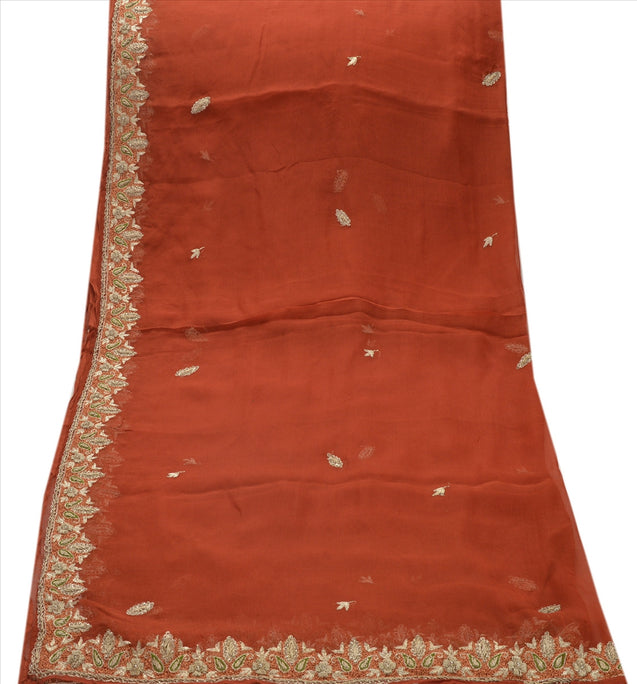 Sanskriti Vintage Dupatta Long Stole Chiffon Silk Orange Hand Beaded Scarves