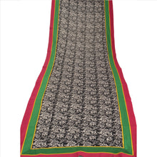 Load image into Gallery viewer, Sanskriti Vintage Dupatta Long Stole Cotton Black Hijab Printed Wrap Scarves