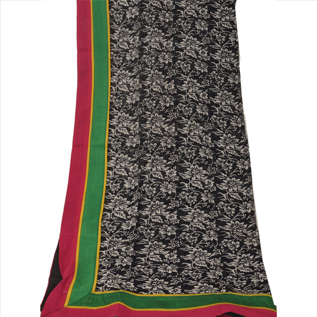 Sanskriti Vintage Dupatta Long Stole Cotton Black Hijab Printed Wrap Scarves