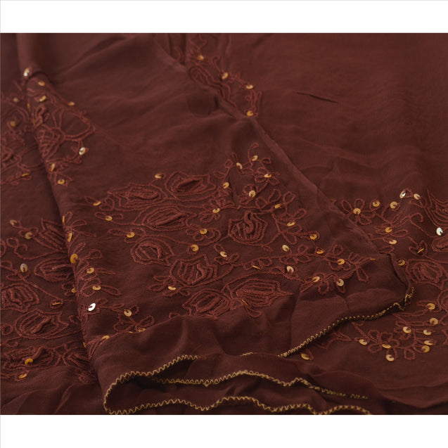 Sanskriti Vintage Dupatta Long Stole Georgette Brown Scarves Hand Beaded Hijab