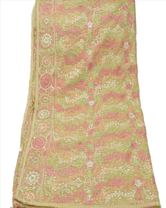 Sanskriti Vintage Dupatta Long Stole Georgette Cream Scarves Hand Beaded Hijab
