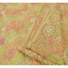Load image into Gallery viewer, Sanskriti Vintage Dupatta Long Stole Georgette Cream Scarves Hand Beaded Hijab
