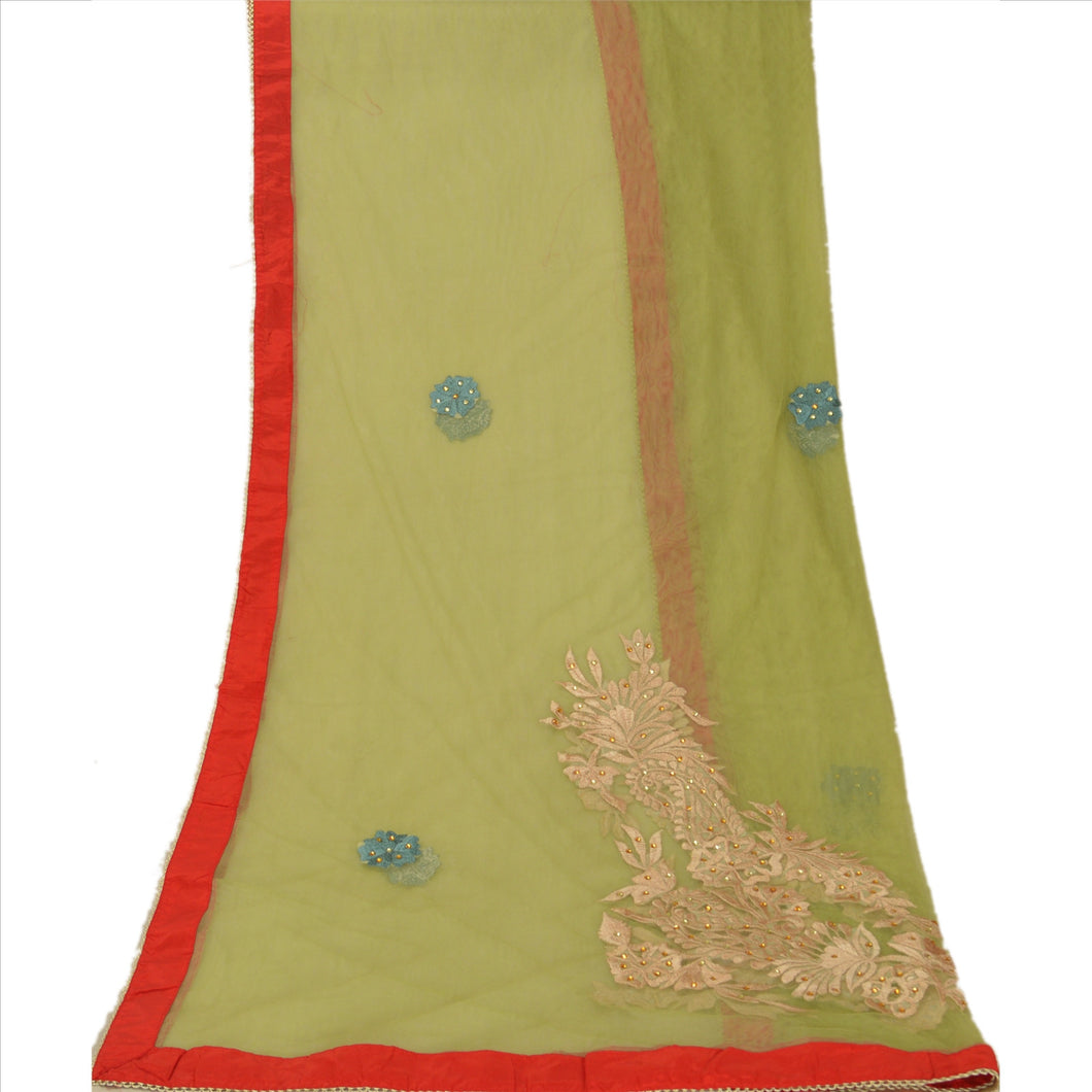 Sanskriti Vintage Dupatta Long Stole Net Mesh Hijab Green Embroidered Wrap Veil