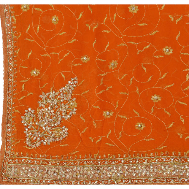 Sanskriti Vintage Dupatta Long Stole Georgette Orange Veil Hand Beaded Scarves