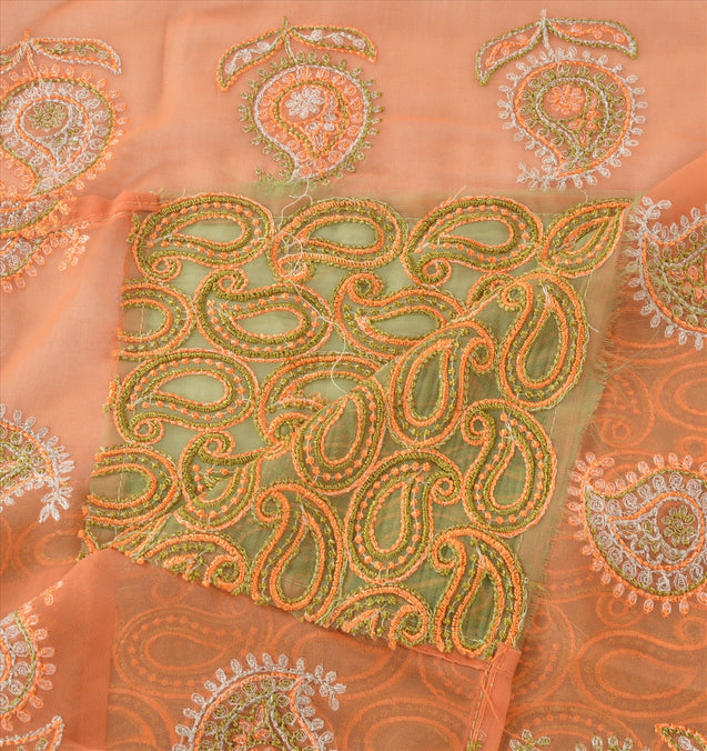 Sanskriti Vintage Dupatta Long Stole Georgette Green Hijab Embroidered Wrap Veil