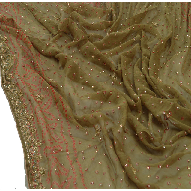 Vintage Dupatta Long Stole Georgette Green Scarves Hand Beaded Bandhani Hijab