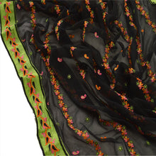 Load image into Gallery viewer, Sanskriti Vintage Dupatta Long Stole Georgette Black Scarves Embroidered Hijab