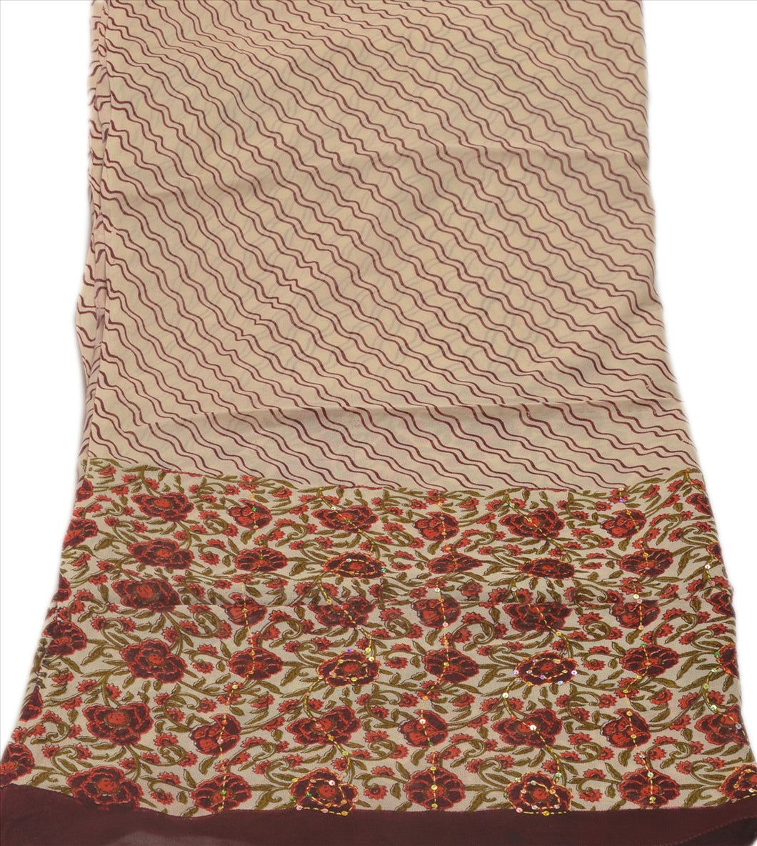 VINTAGE DUPATTA LONG SCARF GEORGETTE CREAM BROWN HAND EMBROIDERED KANTHA STOLE