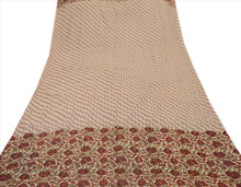 Load image into Gallery viewer, VINTAGE DUPATTA LONG SCARF GEORGETTE CREAM BROWN HAND EMBROIDERED KANTHA STOLE
