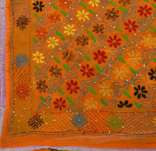 Load image into Gallery viewer, VINTAGE DUPATTA LONG SCARF GEORGETTE ORANGE HAND EMBROIDERED PHULKARI STOLE