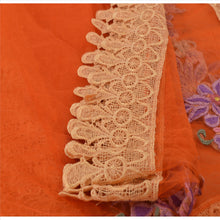 Load image into Gallery viewer, Sanskriti Vintage Dupatta Long Stole Net Mesh Orange Hijab Embroidered Scarves