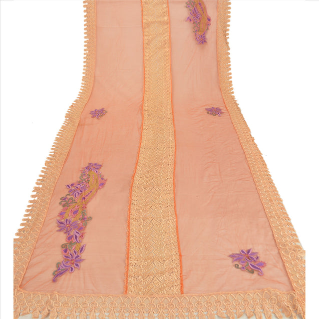 Sanskriti Vintage Dupatta Long Stole Net Mesh Orange Hijab Embroidered Scarves