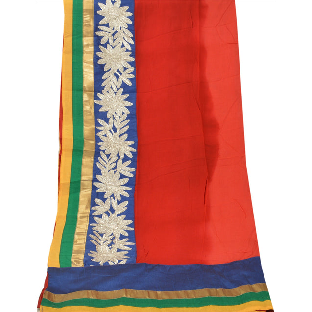 Sanskriti Vintage Dupatta Long Stole Art Silk Red Hijab Embroidered Veil Scarves
