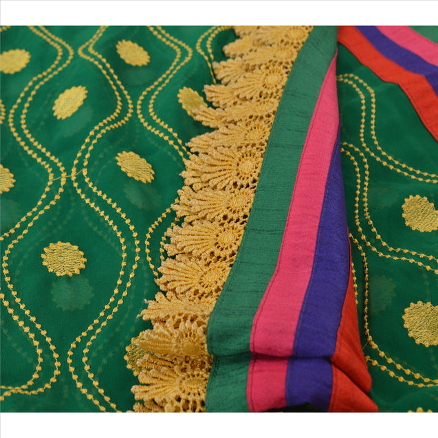 Sanskriti Vintage Dupatta Long Stole Georgette Green Hijab Embroidered Scarves