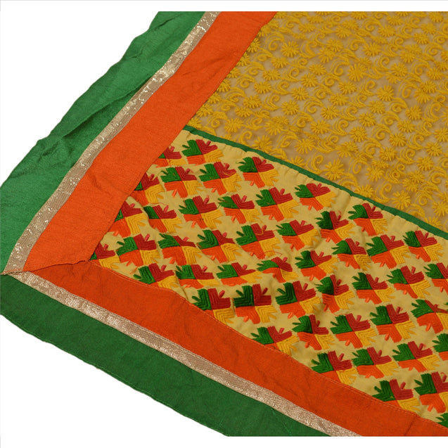 Sanskriti Vintage Dupatta Long Stole Net Mesh Yellow Hijab Embroidered Scarves