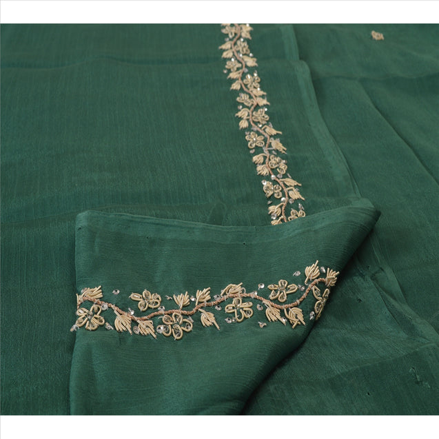 Sanskriti Vintage Dupatta Long Stole Art Silk Green Hijab Hand Beaded Wrap Veil