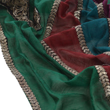 Load image into Gallery viewer, Sanskriti Vintage Dupatta Long Stole Art Silk Green Hijab Embroidered Wrap Veil