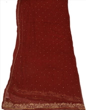 Load image into Gallery viewer, Vintage Dupatta Long Stole Chiffon Silk Maroon Wrap Scarves Hand Beaded Hijab