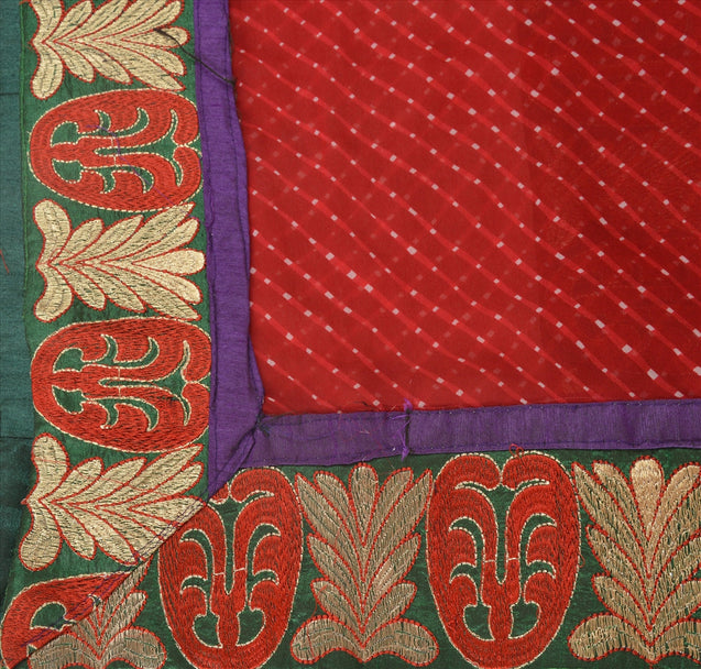 Vintage Dupatta Long Stole Chiffon Silk Red Hijab Embroidered Leheria Wrap Veil
